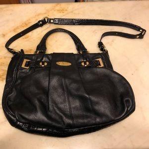 Brahmin black leather brass gold shoulder bag